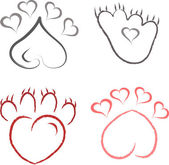 Paw print set — Stockvektor