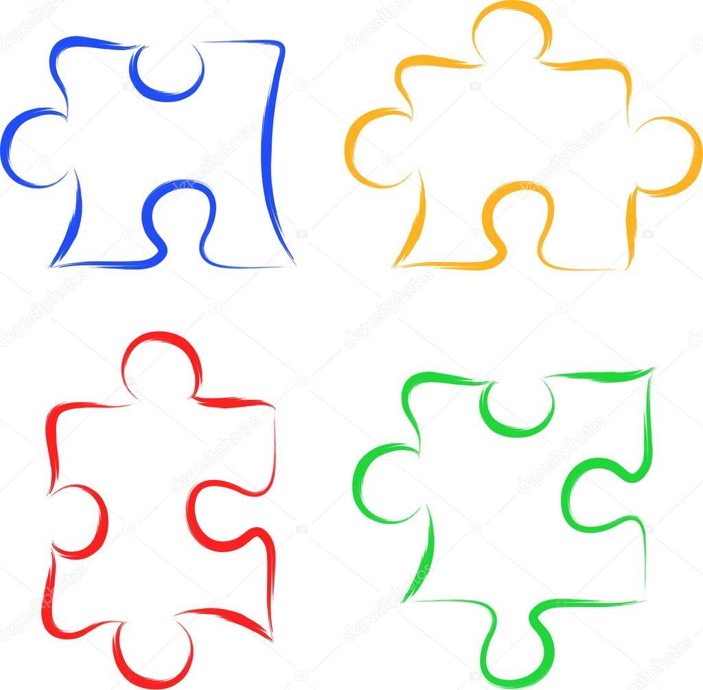 Pi ces de puzzle de dessin main lev e image - Puzzle dessin ...