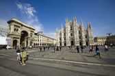 Milano Dome Square with tourists. Italy — Foto de Stock