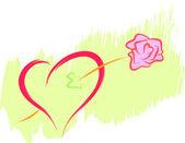 Corazón y rosa — Vector de stock