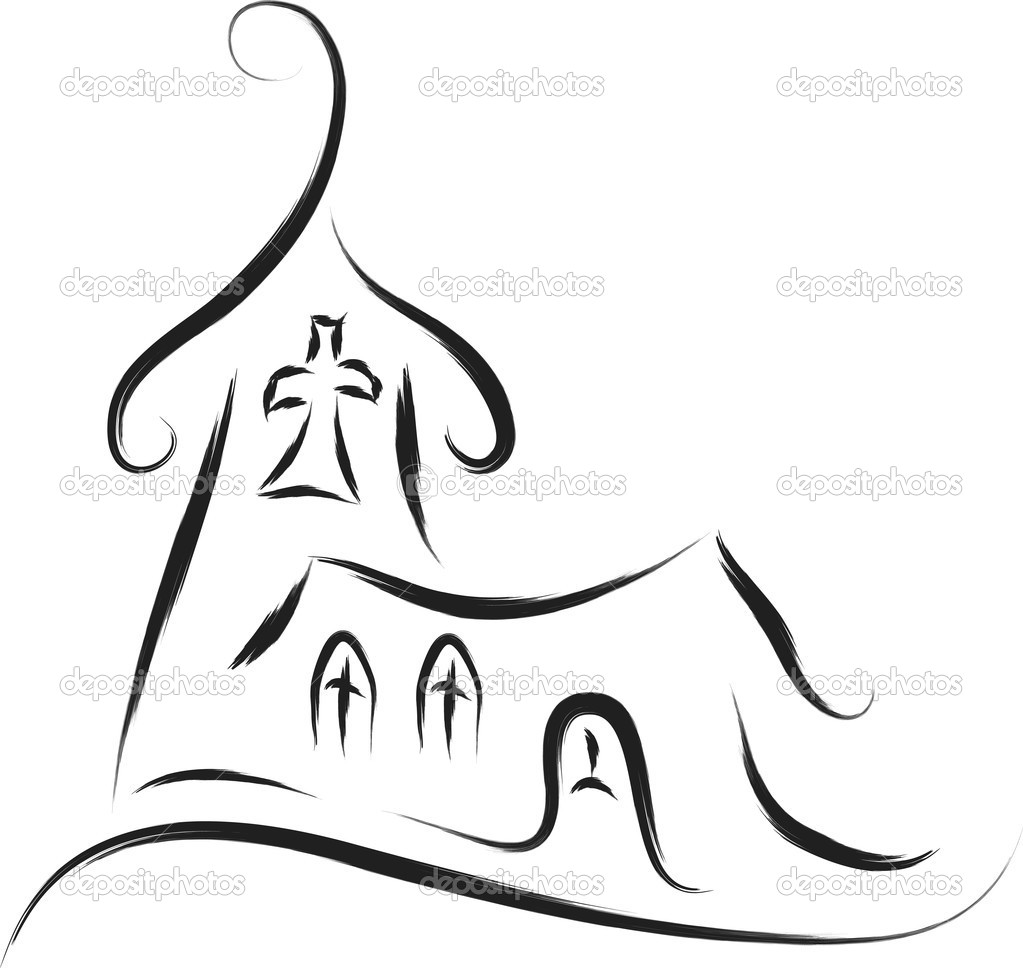 Church abstract sketch drawing style   Stockvectorbeeld #16164967