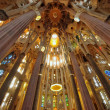 Sagrada Familia cathedral interior, Barcelona Spain - Stock Photo