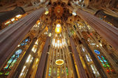 Sagrada Familia cathedral interior, Barcelona Spain — Stock Photo