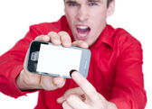 Man showing smart phone — Foto de Stock