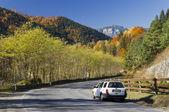 Autumn mountain road — Stock Photo