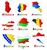 Maps of europe country — Stock Vector