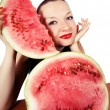 Stock Photo: Cute girl loves watermelon