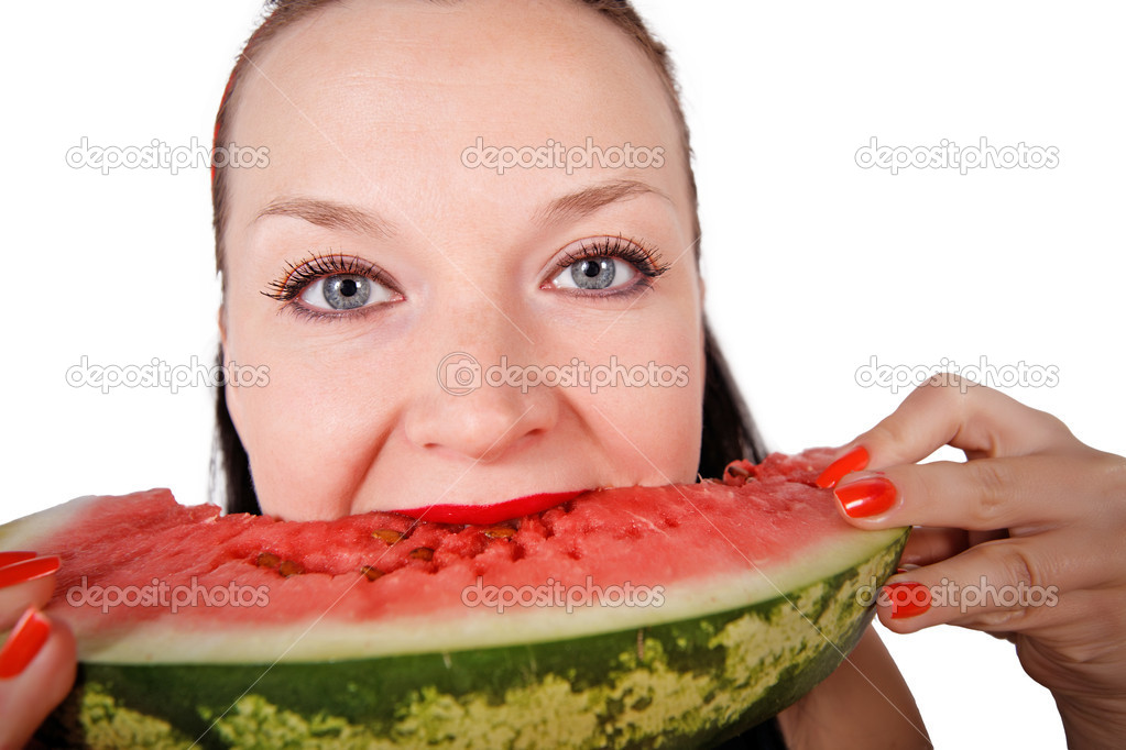 Cute girl eating fresh watermelon isolated — Stock Photo #12419910