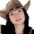 Portrait of a pretty cowgirl isolated — Stock Photo