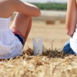 Sitting on hay — Stock Photo