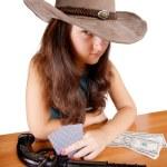 Cowboy girl with gun — Stock Photo