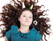 Glamorous portrait of a girl with curly horns — Stock Photo