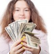 Girl counts money on isolated — Stock Photo #14237231