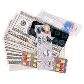 Money for medicine on an isolated — Stock Photo