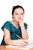 Portrait of a cute brunette schoolgirl — Stock Photo