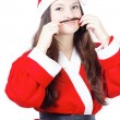 Portrait of pretty young girl dressed as Santa — Stock Photo #15434769