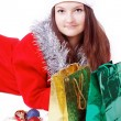 Portrait of a young girl dressed as Santa with shopping — Stock Photo #15435031