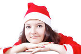 Portrait of a pretty girl posing dressed as Santa Claus — Stock Photo