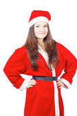 Pretty young girl dressed as Santa — Stock Photo