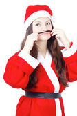 Portrait of pretty young girl dressed as Santa — Stock Photo