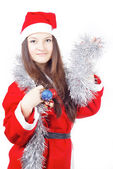 Portrait of a teen girl dressed as Santa — Stock Photo