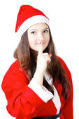 Pretty young girl in a silence Santa costume — Stock Photo