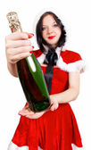 Open the champagne at Christmas and the new year — Stock Photo