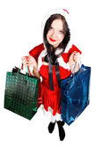 Girl with Christmas presents isolated — Stock Photo