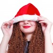Pretty curly snow maiden hiding  Christmas — Stock Photo