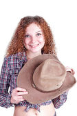 Cowboy pretty curly girl posing smiling — Stock Photo