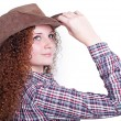 Portrait of pretty girl in a cowboy hat — Stock Photo