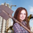 Foto Stock: Girl out of profession builder