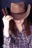 Portret bardzo kręcone ruda dziewczyna — Zdjęcie stockowe