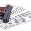 Weapons and money background — Stock Photo