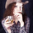 Pretty curly girl cowboy — Stock Photo #18839775