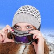 Stock Photo: Portrait of pretty snowboarders winter