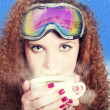 Stock Photo: Portrait snowboarders with coffee winter