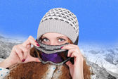 Portrait of pretty snowboarders winter — Stock Photo