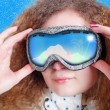 Pretty curly girl Snowboard — Stockfoto #20208787
