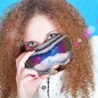 Cute curly girl  Snowboard — Stock Photo