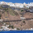 Stock Photo: City over seof Santorini in Greece