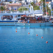SANTORINI GREECE 4 JULY 2012 pleasure boats are moored. — Stock Photo