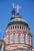 Kubbeler haçlar duyuru katedrali ile — Stok fotoğraf