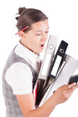 Pretty business woman with documents — Stock Photo