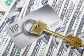 Golden key to riches — Stock Photo