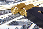 Financing and sale of military weapons, background — Stock Photo