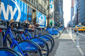 Bike hire on the streets of New York day — Stock Photo
