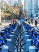 Bike hire on the streets of New York day — Stockfoto
