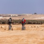 Racers bike desert area — Stock Photo #37715977