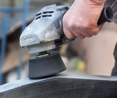 Work with polished granite grinder — Stock Photo